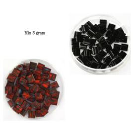 Mix Miyuki tila 5x5 mm opaque black 401 / opaque  Picass0 orange 4520