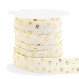 Elastisch lint stars pattern Silk White-gold 50 cm
