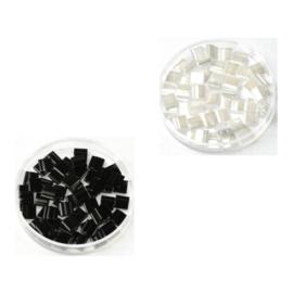 Mix Miyuki tila 5x5 mm - ceylon pearl white / opaque black 401