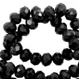 Facet kralen top 3x2 mm Jet black-pearl  10 . 57600