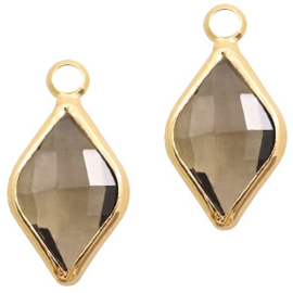 Hanger van crystal glas rhombus 10x14mm Greige crystal-gold