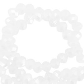 Facet kralen top quality disc 4x3 mm White Pearl Shine Coating 68123 Per 10 St.