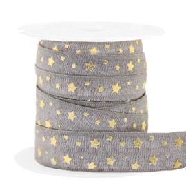 Elastisch lint stars pattern Taupe-gold 50 cm