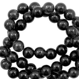 6 mm kralen natuursteen kralen rond Jade Black opal  61661 per 10 stuk