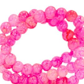Glaskralen 6 mm gemêleerd Hot pink 67374 50 st.