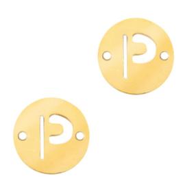 Bedel van  (RVS) 10mm initial coin P Goud tussenzetsel