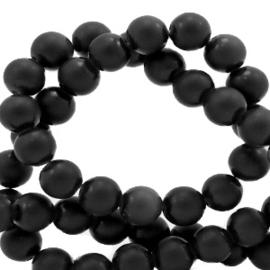 6 mm kralen natuursteen mat Black 56880 per 10 stuk
