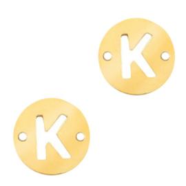 Bedel van  (RVS) 10mm initial coin K Goud tussenzetsel