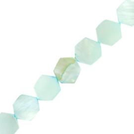 Schelp kralen hexagon Paled turquoise blue 4 st.