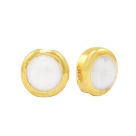 DQ Pearl gold-white kraal  (nikkelvrij)