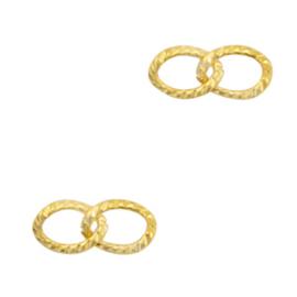 Roestvrij staal (RVS) tussenstuk dubbele schakel oval Goud 72165 per st.