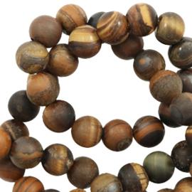 8 mm kralen natuursteen tiger stone mat Dark Brown 56908 10 st