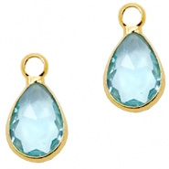 Hanger van crystal glas druppel 12x6mm Light turquoise blue crystal-gold Per stuk