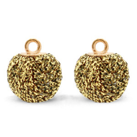 Bedels pompom glitter met oog 12mm Rich gold-gold