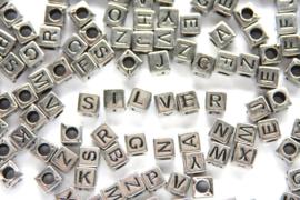 Letterkralenmix, vierkant, acryl, 6mm, Zilver, 100 st