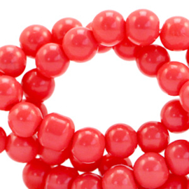Glaskralen 4 mm opaque Coral red 40 st.