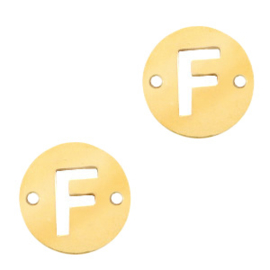 Bedel van  (RVS) 10mm initial coin F Goud tussenzetsel