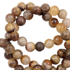 6 mm kralen natuursteen agaat Brown mix 58555 10 st.