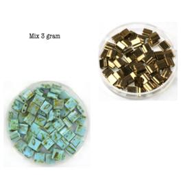 Mix Miyuki tila 5x5 mm metallic dark bronze 457 / opaque Picasso turquoise  blue 4514