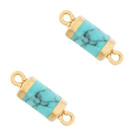 Hangers van natuursteen tussenstuk hexagon Marble turquoise-gold per stuk