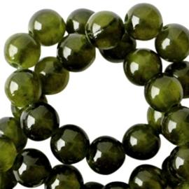 Jade ronde kraal natuursteen 6mm Forrest Green Opal 35010 10 st.