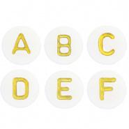 Acryl letterkralen  White-gold mix 100 stuks