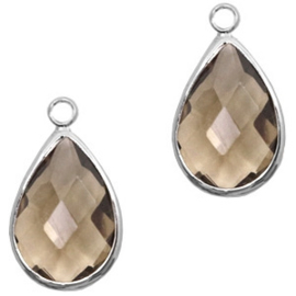 Hanger van crystal glas druppel 10x14mm Greige crystal-silver Per stuk