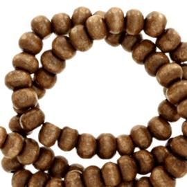 Houten kralen 4mm rond Tobacco brown  4 gram 67839