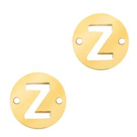 Bedel van  (RVS) 10mm initial coin Z Goud tussenzetsel