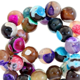 Halfedelsteen kraal rond 4mm agaat Multicolour fuchsia 45386 10 st