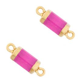Hangers van natuursteen tussenstuk hexagon Purple pink per stuk