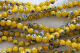 Millefiori Kralen yellow 8 mm per 20 stuks