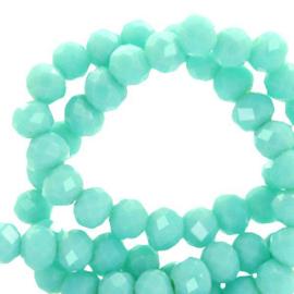 Facet kralen 4x3 mm disc aqua turquoise 62468 per 10 stuks