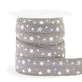 Elastisch lint stars pattern Taupe-silver 50 cm