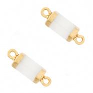 Hangers van natuursteen tussenstuk Hexagon White Gold per stuk