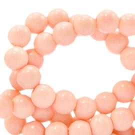 Glaskralen 6 mm opaque Peach Blush Pink 66364 40 st.