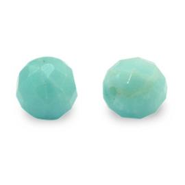8 mm Natuur steen Kralen Rond Facet geslepen Paled Turquoise Green per 10 stuks 71127