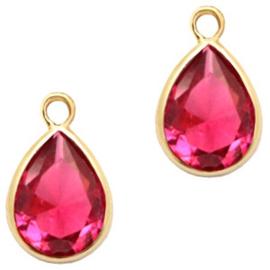 Hanger van crystal glas druppel 6x8mm Indian pink crystal-gold Per stuk