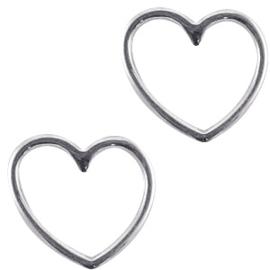 DQ metaal bedels hartje Zilver per stuk