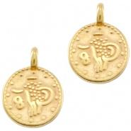 DQ metalen bedels muntjes Goud (nikkelvrij)) 4 st. 31303