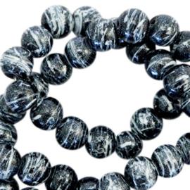 Glaskralen 6 mm drip-line Zwart glitter wit 50 st
