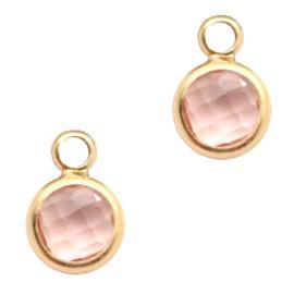 58753 Hanger van crystal glas rond 6mm Vintage pink Crystal-gold per st.