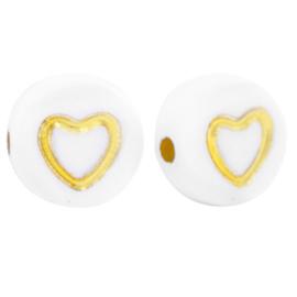 Acryl letterkralen heart White-gold per 10 st.