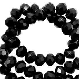 Facet kralen top quality disc 6x4 mm Jet black-pearl shine coating 70147 10 st.