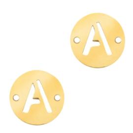 Bedels van (RVS) 10mm initial coin A Goud tussenzetsel