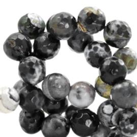 Halfedelsteen kraal rond 8mm agaat facet geslepen Black-grey opal42674 10 st