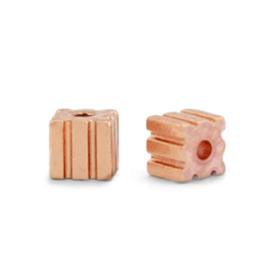 Kralen van hematite cube 3mm Rosegold 5 st 68719