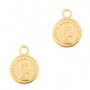 Metaal bedels DQ muntje 8mm Goud (nikkelvrij)  2 st.