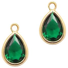 Hanger van crystal glas druppel 6x8mm Classic green crystal-gold Per stuk