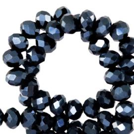 Facet kralen top quality disc 4x3 mm Black-pearl shine coating 64188 10 st.